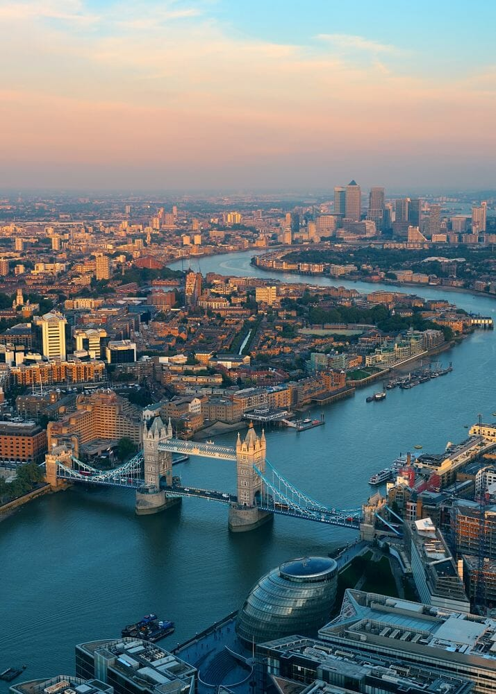 Aerial view of London showing Tower Bridge and City Hall