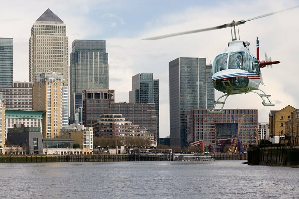 Helicopter ride over canary wharf