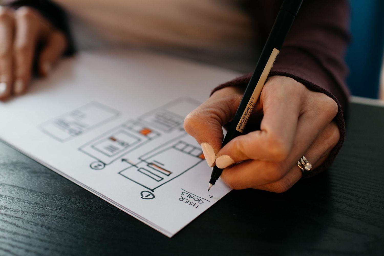 Woman planning a website
